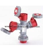 Adattatore industriale A 3 vie con spina 3P+T 16A/prese 3P+T IP67