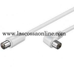 Cavo Antenna TV M/F angolato 90° 1,5mt bianco
